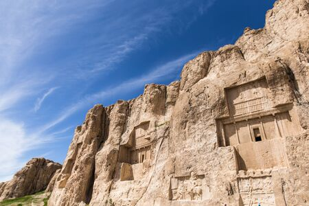 Necropolic Naqsh-e Rostam ancient place with tombs of Darius I and Darius II located about 12 km northwest of Persepolis, in Fars Province, Iran