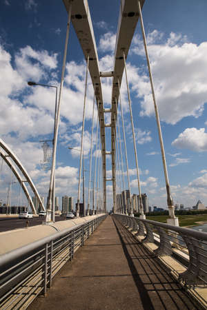 KAZAKHSTAN, NUR-SULTAN - AUGUST 18, 2016: Arkar bridge in summertime