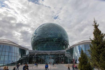 KAZAKHSTAN, NUR-SULTAN - AUGUST 11, 2017: parts of Astana Expo building constructions