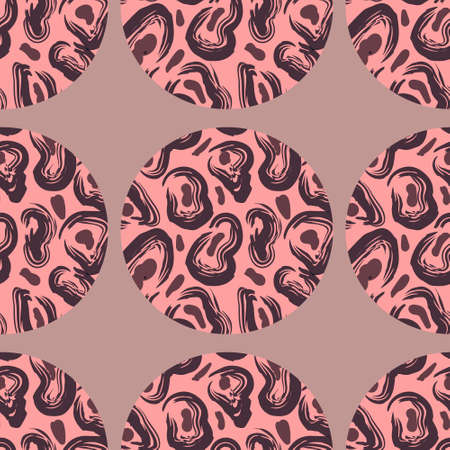 Bright circle pattern with leopard texture on pink background. Eps10