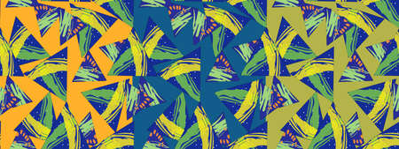 Bright pattern made of triangles with a texture on the three options of background. Imagens - 124893115