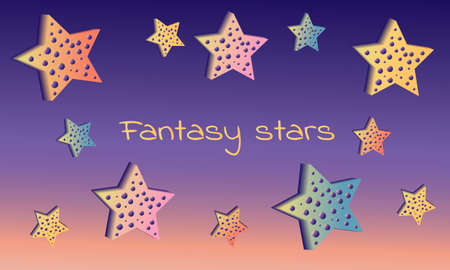 Illustration with fantasy stars. Imagens - 124893125