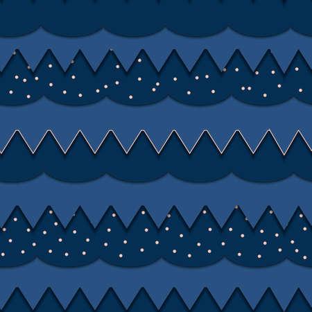 Seamless pattern. Illustration of carved waves from paper. Ilustração