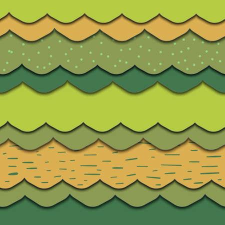 Seamless pattern. Layers of cut paper Summer mood. Illustration