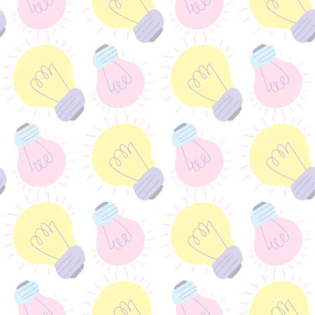 Seamless pattern with cartoon colored light bulbs. EPS 10