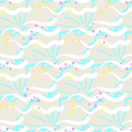 Seamless pattern with cartoon marine elements. EPS10