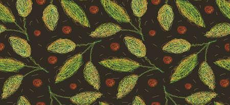 Nahtloses Muster von Blättern und Früchten. Alle Details sind in besonderer Weise mit gewundenen Linien von Hand gezeichnet. EPS10