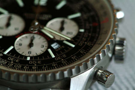 Strong shallow of field of Breitling Chronograph wristwatch photo