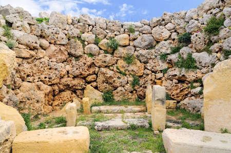 fertility goddess: Part of a megalithic temple complex, Ggantija (Ggantia), Gozo, Malta.  Stock Photo
