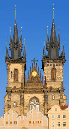 tyn: Church of Virgin Maria Before Tyn built in 14th century in Old Town Square in Prague