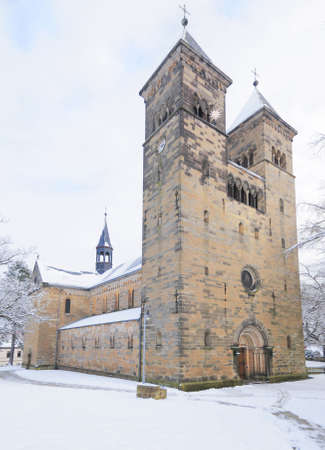 11th century: Church in Bad Klosterlausnitz under fresh snow, decorated for Christmas; the church was built in 11th century in Romanic style