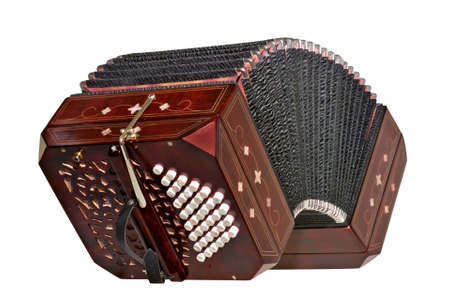 milonga: Bandoneon, tango instrument, three quarters view