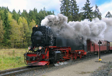 locomotora: Tren de vapor de trocha angosta de Harz en nubes de humo; La l�nea de ferrocarril de Brocken, junto a la estaci�n Drei Annen; Sajonia-Anhalt, Alemania