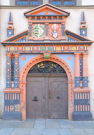 Doors to Naumburg Town Hall, a Late Gothic building on the Market Square; Saxen-Anhalt, Germany photo