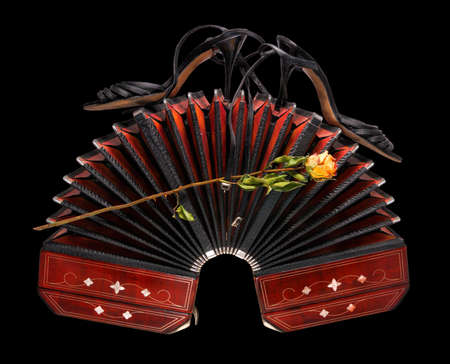 milonga: Wide open bandoneon with tango shoes and a dry rose, isolated on black background Stock Photo