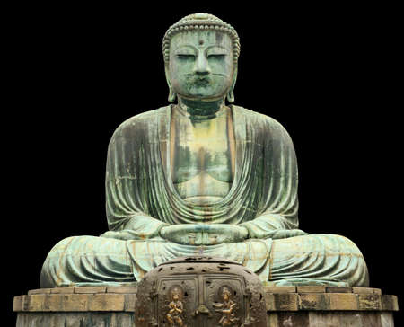 Japan, Kamakura, Great Buddha statu, front view, isolated on black photo