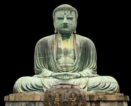 kamakura: Japan, Kamakura, Great Buddha statu, front view, isolated on black
