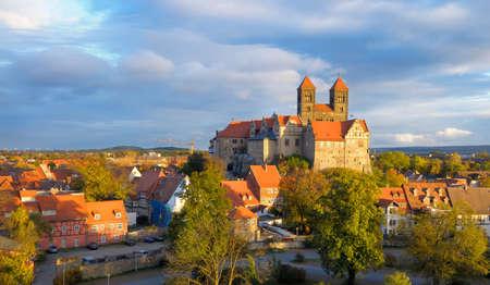 Quedlinburg Castle complex under evening sun in Autumn; Quedlinburg, Saxen Anhalt, Germany Stock Photo - 9171937