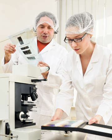 Male and female researchers match data of a high throuput screen to tissue samples by a microscope Stock Photo - 9821150