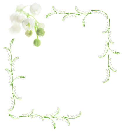 lily of the valley: lily of the valley frame on white background Stock Photo
