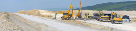 construction machinery: Construction of new motorway between Jena and Weimar, Thuringia, Germany, panoramic view