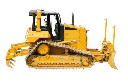 Yellow bulldozer on a white background photo