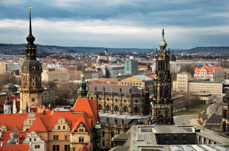 dresden: Aerial view of Old Dresden dominated by towers of Hofkirche and Residenzschloss
