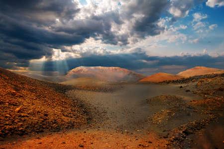 timanfaya: Mountains of fire,Timanfaya National Park in Lanzarote Island  Stock Photo