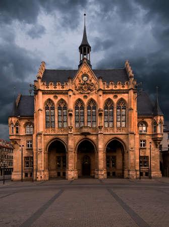 neo gothic: Town hall on Fishmarkt, Erfurt, Thuringia, Germany