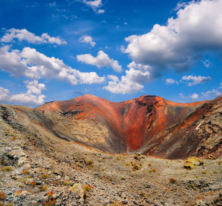 timanfaya: Volcanic crater in Mountains of fire,Timanfaya National Park in Lanzarote Island  Stock Photo