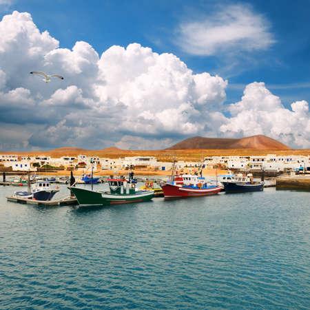 lanzarote: Fishermen boats in Caleta de Sebo, La Graciosa, Canary Islands Stock Photo