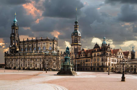 View from Theaterplatz on Catholic Hofkirche, also known as Cathedral of Holy Trinity in Dresden Stock Photo