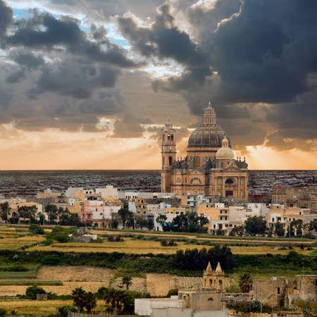 malta: Church of Saint John the Baptist, Xewkija, Gozo island, Malta  Stock Photo
