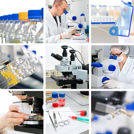 biopsia: Los microscopios en el laboratorio de investigación moderna, el collage Foto de archivo
