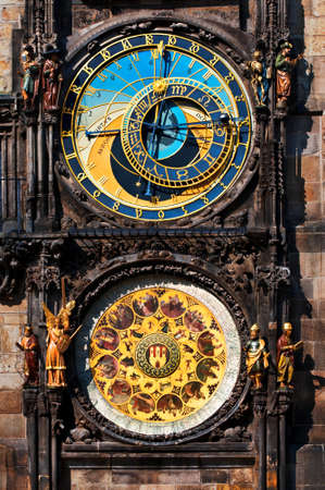 Closeup on Astronomical Clock, built in to one side of the Old Town Hall Tower in Prague photo