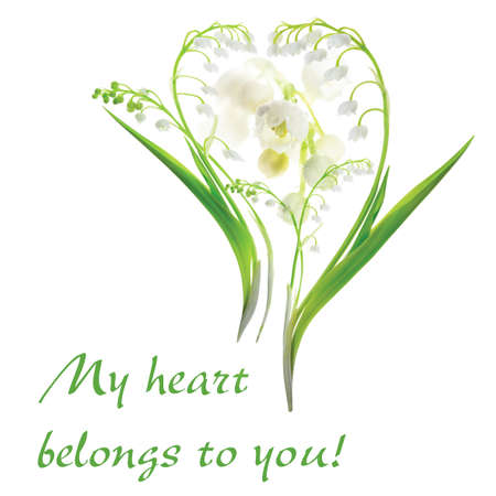 Heart made from Lily of the Valley (Convallaria Majalis)  photo