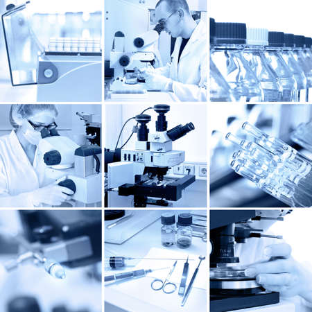 microscopical: Microscopes in the modern research laboratory, collage in black and white Stock Photo