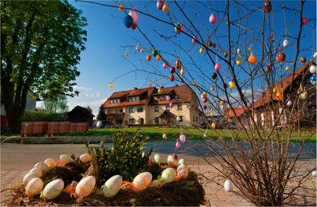 schweiz: Village in Franconian Switzerland  (Frankische Schweiz) decorated for Easter