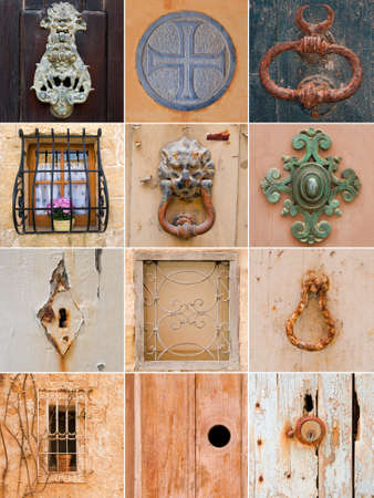 Collection of traditional keyholes, ornate door handles, unusual door hammers and window bars. Malta photo