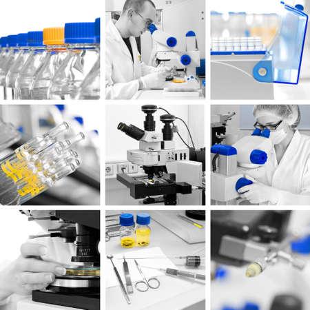 Microscopios en el entorno de la investigación moderna, el collage Foto de archivo