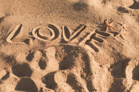 Word love written on the sand and three star fishes photo