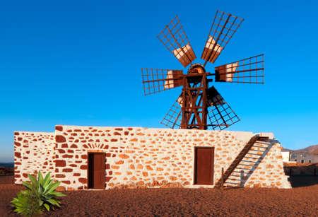 traditional windmill: Traditional windmill by La Oliva village, Fuerteventura, Canary islands, Spain