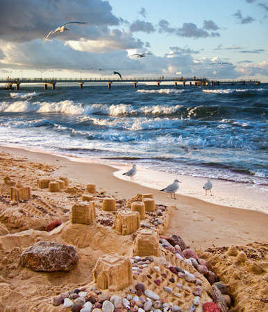 baltic: Sand castles on the beach of Rugen island in the Baltic Sea