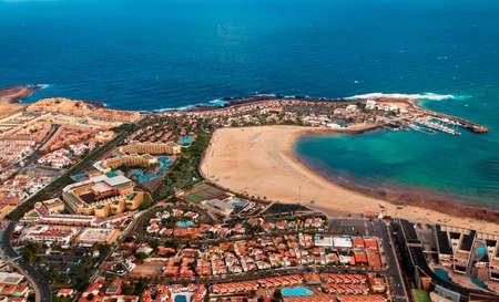 Aerial overview of Caleta de Fuste, Fuerteventura, Canary islands, Spain