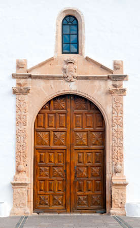 Main entrance to the church in Betancuria, and old capital of Fuerteventura, Canary islands, Spain Stock Photo - 12353715
