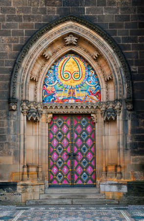 peter: Side entrance door of St  Peter and Paul church in Vysehrad, Prague, Czech Republic Editorial