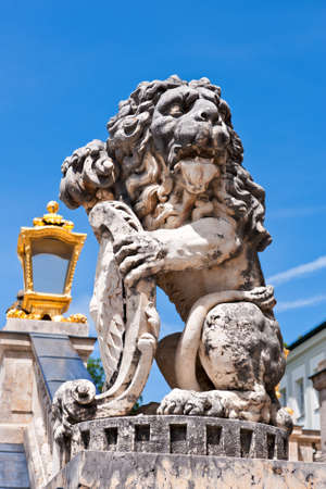 nymphenburg palace: Lion statue flanking main entrance to Nymphenburg Castle in Munich, Germany