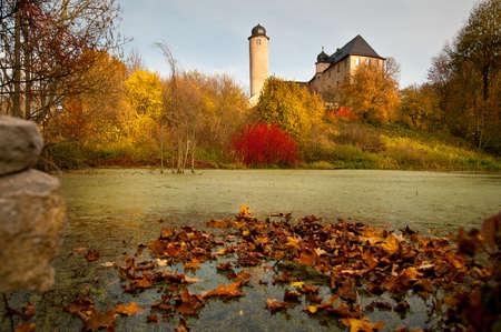Staw z liści jesienią w Niemczech