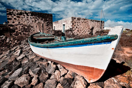 Old fishermen boat, La Oliva, Fuerteventura, Canary islands, Spain photo