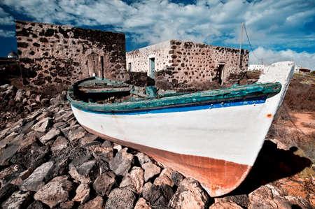 Old fishermen boat, La Oliva, Fuerteventura, Canary islands, Spain photo
